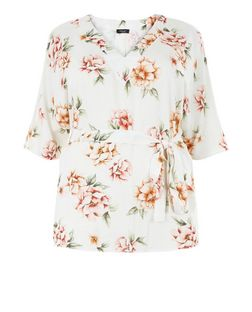 Curve White Floral Print Tie Waist Wide Sleeve Top | New Look