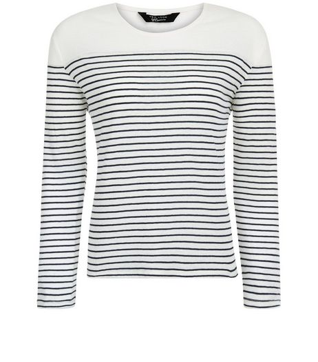 Teens White Stripe 1/2 Sleeve Top | New Look