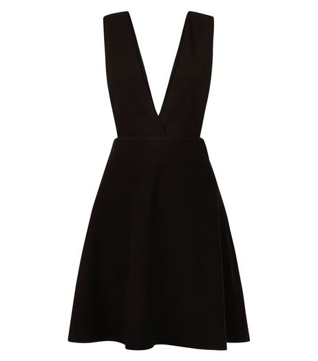 Black Pleated Pinafore Dress | New Look