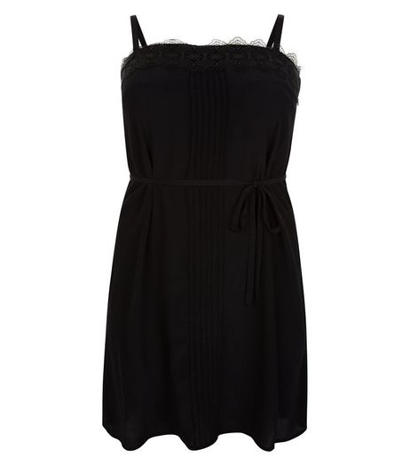Curves Black Lace Trim Slip Dress | New Look