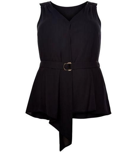 Curves Black Belted Cami | New Look
