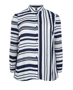Curves Blue Contrast Stripe Long Sleeve Shirt  | New Look