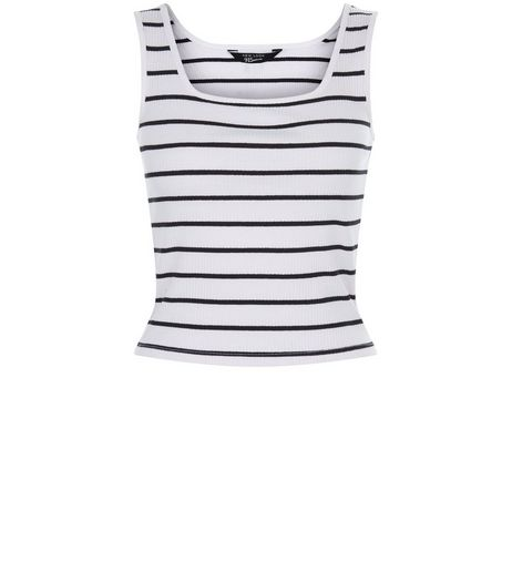 Teens White Stripe Ribbed Vest | New Look