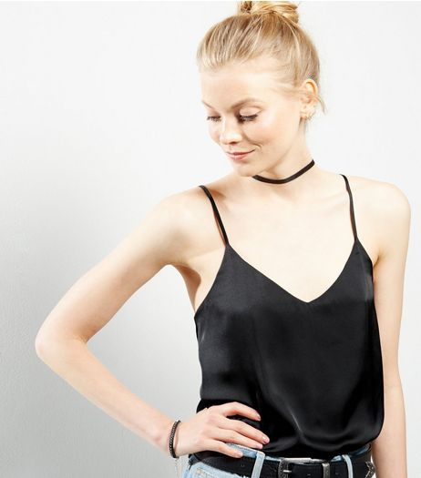 Black Sateen V Neck Cami | New Look