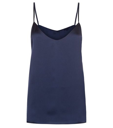 Navy Sateen V Neck Cami | New Look