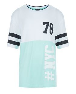 Teens Mint Green Colour Block 78 NYC Print T-Shirt | New Look