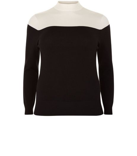 Curves Black Colour Block High Neck Jumper | New Look