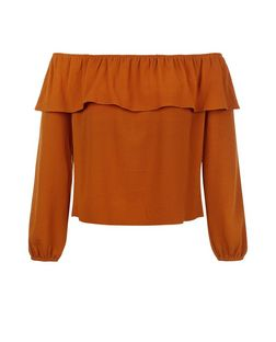 Rust Frill Bardot Neck Top | New Look
