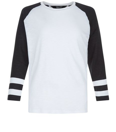 Teens White Raglan Stripe Sleeve Top | New Look