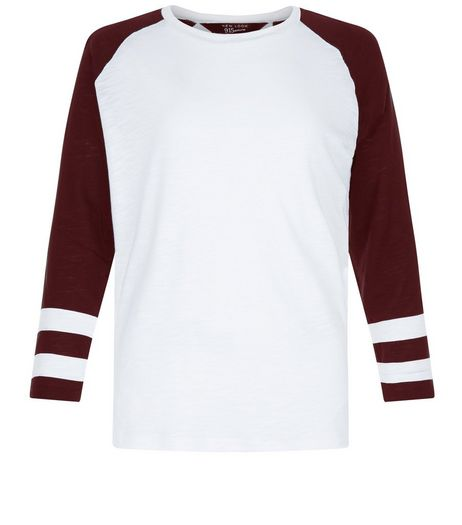 Teens Burgundy Raglan Stripe Sleeve Top | New Look