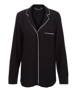 Black Contrast Trim Single Pocket Long Sleeve Shirt  | New Look