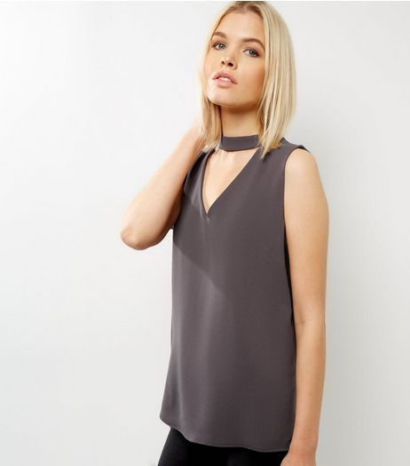 Dark Grey Choker Neck Cut Out Sleeveless Top  | New Look