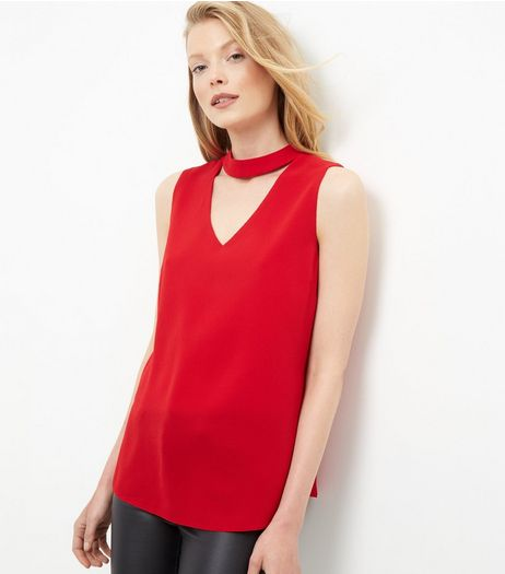 Red Cut Out Shell Top | New Look
