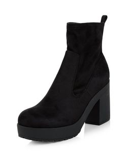 Black Elasticated Platform Ankle Boots | New Look