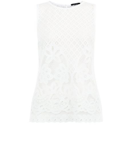 Cream Scallop Lace Sleeveless Top  | New Look