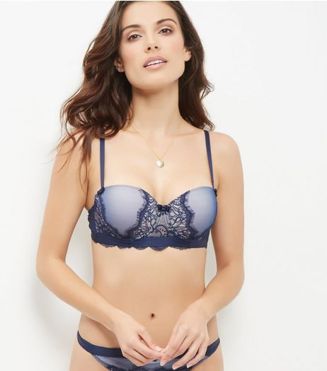Navy Lace Push Up Bra | New Look