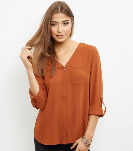 Rust Bubble Texture V Neck Roll Sleeve Shirt  | New Look