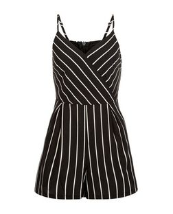 Black Stripe Strappy Playsuit  | New Look