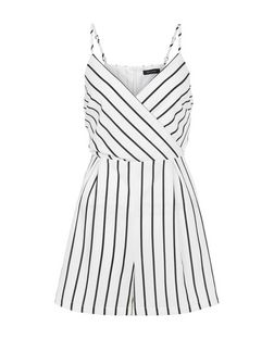 White Stripe Strappy Playsuit  | New Look