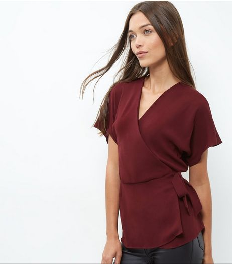 Burgundy Wrap Tie Side Top | New Look