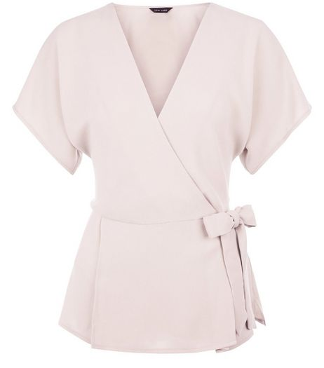 Mid Pink Wrap Tie Side Top | New Look