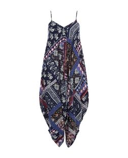 Blue Patchwork Print Harem Jumpsuit  | New Look