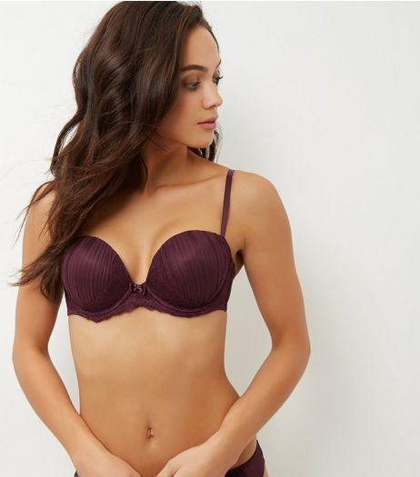 Dark Purple Pleated Mesh Boost Bra  | New Look