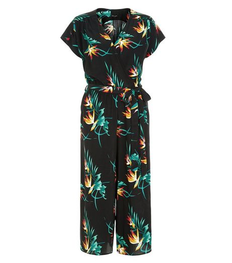 Black Tropical Print Wrap Culotte Jumpsuit | New Look