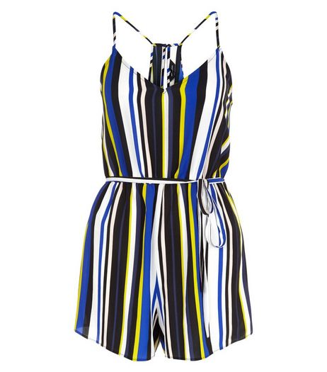 White Stripe Tie Waist Playsuit  | New Look