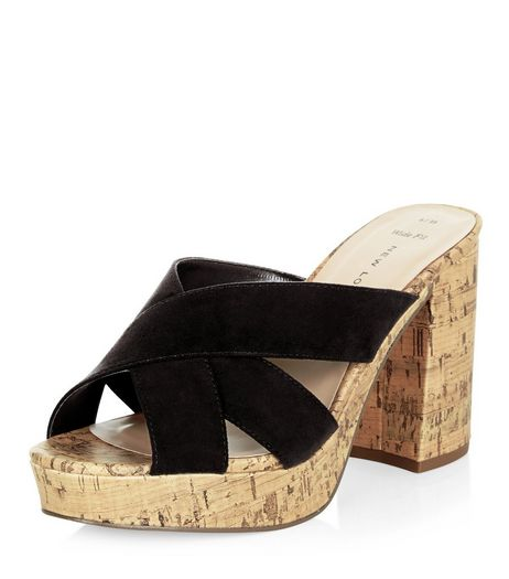 Wide Fit Black Cross Strap Contrast Cork Block Heel Mules  | New Look