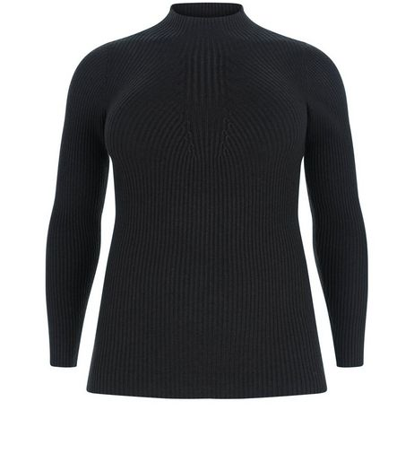 Curves Black Ribbed Funnel Neck Jumper | New Look