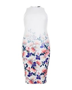 Curves White Floral Print Sleeveless Midi Dress | New Look