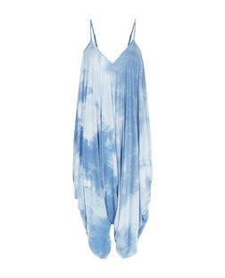 Blue Tie Dye Harem Jumpsuit  | New Look