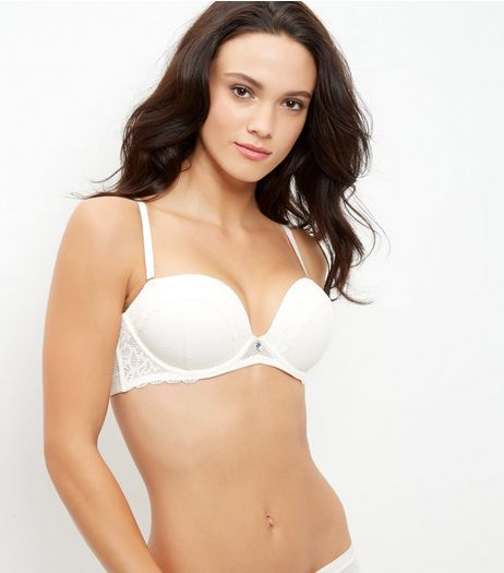 Cream Fishnet Lace Boost Strapless Bra | New Look