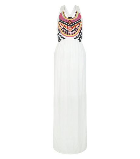 Cream Embroidered Panel Maxi Dress  | New Look
