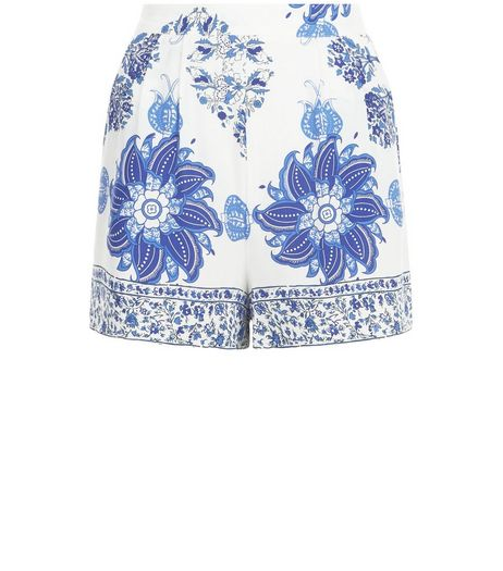 Parisian White Tile Print Shorts | New Look