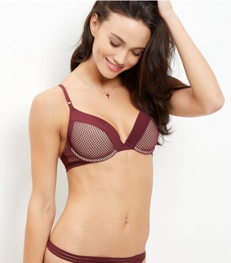 Burgundy Geo Mesh Push Up Bra | New Look