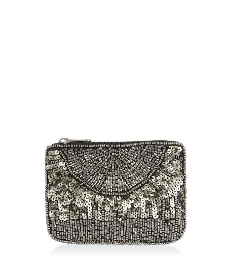 Pewter Sequin Zip Top Purse | New Look