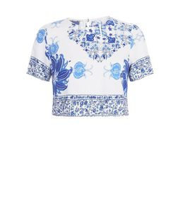 Parisian White Tile Print Crop Top | New Look