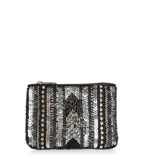 Black Stripe Sequin Zip Top Purse | New Look