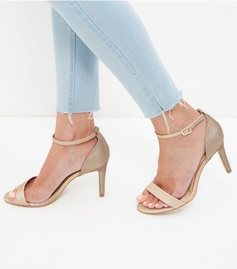Wide Fit Gold Peep Toe Ankle Strap Heels  | New Look