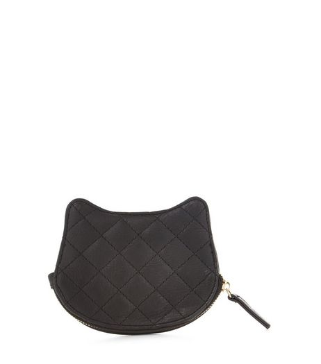 Black Quilted Cat Coin Purse  | New Look