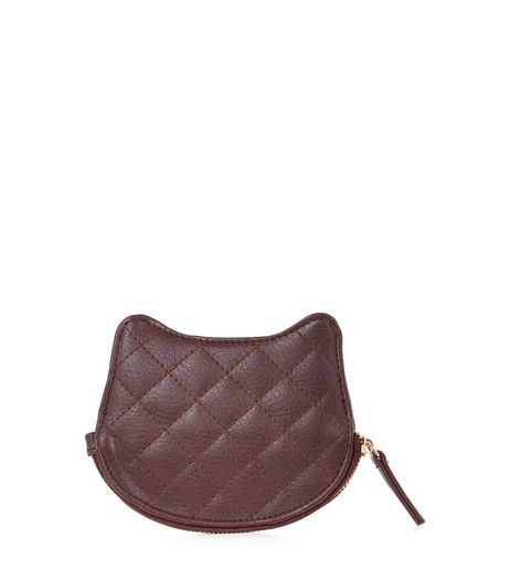 Burgundy Quilted Cat Coin Purse  | New Look