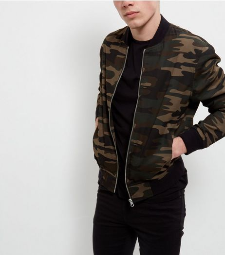 Green Camo Print Bomber Jacket  | New Look