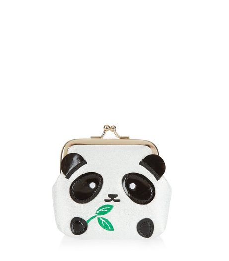 White Panda Clip Top Coin Purse | New Look