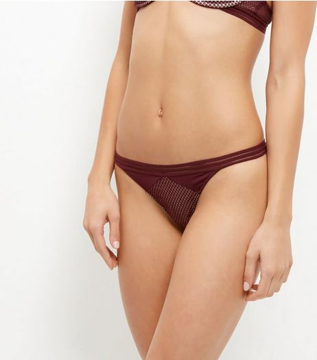 Burgundy Geo Mesh Strappy Thong | New Look