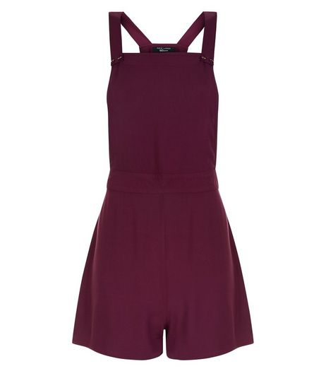 Teens Burgundy Pinafore Playsuit | New Look