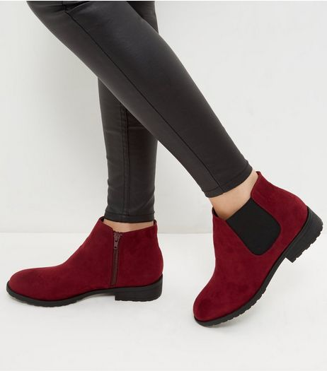 Wide Fit Dark Red Suedette Chelsea Boots | New Look