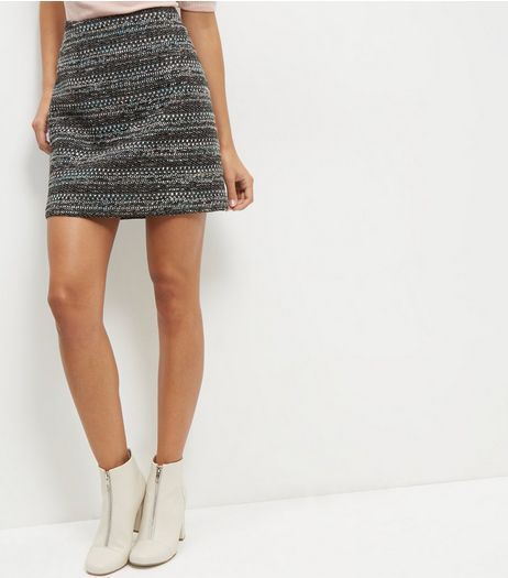 Grey Fleck Print Popper Front Skirt | New Look