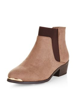 Wide Fit Light Brown Metal Trim Chelsea Boots  | New Look